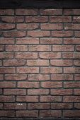 Architecture. Brick Wall With Wooden Beam Background