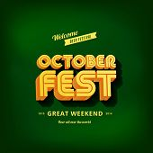 Octoberfest festival typography vintage retro style vector design poster template. Creative 3d typo font October-fest menu banner