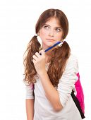 Portrait of ponder girl with pencil near face isolated on white background, recall answer on hard question on the exam, back to school concept
