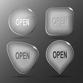 Open. Glass buttons. Raster illustration.