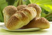 Closed Up Of Sesame And Garlic Bread