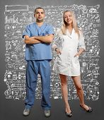 doctor man and woman against different backgrounds