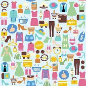 Vector Background With  Shopping Icons