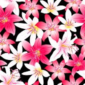 Tropical Hibiscus Red And Pink Floral Design Seamless Pattern
