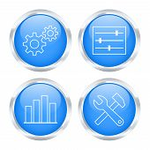 Set Of System Settings Buttons. Vector Illustration
