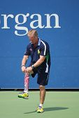 Decorated US Army Veteran Ryan McIntosh with carbon-fiber prosthetic right leg works at US Open