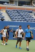 Grand Slam Champion Andy Murray with his team and coach Amelie Mauresmo ready for practice US Open