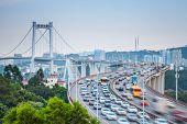 Vehicles Motion Blur On Curve Bridge