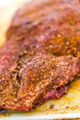 image of barbie  - Large slab of meat seasoned ready to be cooked in smoker. ** Note: Soft Focus at 100%, best at smaller sizes - JPG