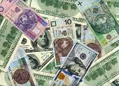 image of zloty  - US dollars and Polish banknotes  - JPG