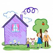 Kids sketch of happy family with house