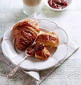 Croissant with Rhubarb Jam