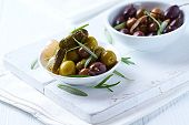Pickled Olives and Gherkins