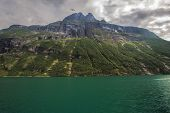stock photo of fjord  - View over the fjord Geiranger fjord in Norway - JPG