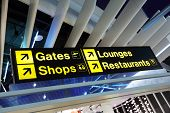 Airport flight gate, shop, restaurant and lounge direction information sign