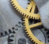 Background With Metal Cogwheels A Clockwork. Macro