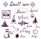 Snuff and tabacco icons set - hand drawn