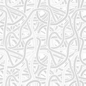 Continuous Interlocking Shapes Like Spaghetti. Vector Seamless Gray Pattern