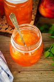 Peach Jam In A Glass Jar