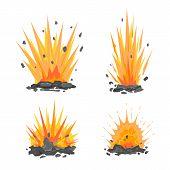Set Of Cartoon Ground Explosions