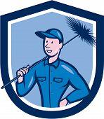 image of sweeper  - Illustration of a chimney sweep holding sweeper set inside shield crest on isolated background done in cartoon style - JPG