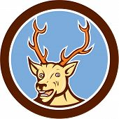 Stag Deer Happy Head Circle Cartoon