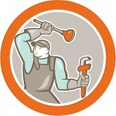 Plumber Wielding Plunger Wrench Circle Cartoon