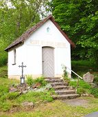 BUCINA, CZECH REPUBLIC - JULY 18 2014: Memorial chapelle in destroyed village Bucina. Place of genoc