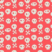 foto of skull cross bones  - Halloween seamless pattern with hand drawn doodle skulls and crossed bones - JPG
