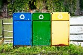 stock photo of reuse recycle  - Recycle bins for collection of recycled materials - JPG