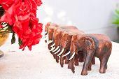 foto of handicrafts  - the wood elephant toy handicraft in thailand - JPG