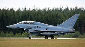 Eurofighter training jet after flight demonstration