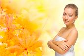 Young healthy girl on autumnal background