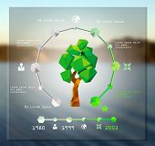 Modern infographic design with origami tree. vector illustration