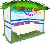 foto of sukkot  - Vector illustration of Sukkah with ornaments and table for the Jewish Holiday Sukkot - JPG