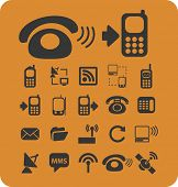 connection isolated icons, signs, vectors, illustrations, silhouettes set, vector