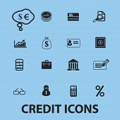 credit, bank isolated icons, signs, illustrations, silhouettes, vectors set