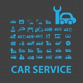 auto, car service isolated icons, signs, illustrations, silhouettes, vectors set