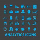 business analytics isolated icons, signs, illustrations, silhouettes, vectors set