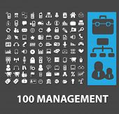 100 management, marketing, presentation isolated icons, signs, vectors, illustrations, silhouettes set, vector