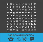 100 communication isolated icons, signs, illustrations, silhouettes, vectors set