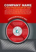Vector red brochure background with infographic circle and pictograms