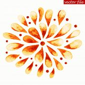 Orange and Red Watercolor Vector Sunburst Flower
