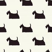 image of scottish terrier  - Seamless pattern with dog silhouettes on polka dot background - JPG