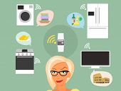 pic of televisor  - Blond woman thinking about smart gadgets at home and applications around her - JPG