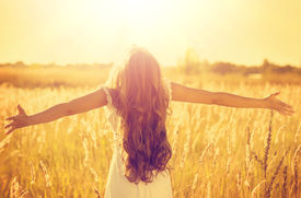 picture of glow  - Autumn Girl enjoying nature on the field - JPG