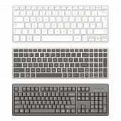 stock photo of workstation  - Computer keyboards on a white background - JPG