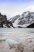 Dolomites alpine scenery in winter
