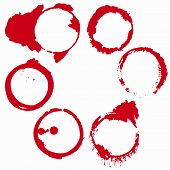 set of 6 red wine stains isolated on white background