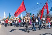 Employees of Sberbank with families on parade